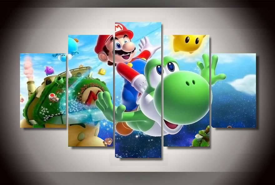 Framed-Printed-Cartoon-Super-font-b-Mario-b-font-font-b-Painting-b-font-on-canvas
