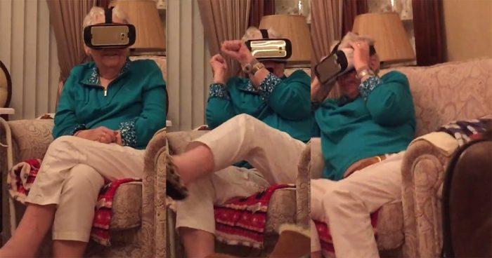 La réaction d'une grand-mère qui teste la réalité virtuelle!
