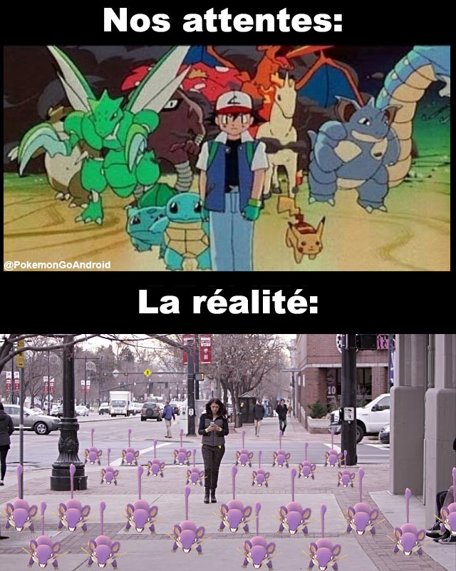 Nos attentes dans Pokémon Go vs la réalité!