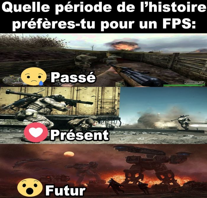 Quelle période de l'histoire préfères-tu pour un FPS?