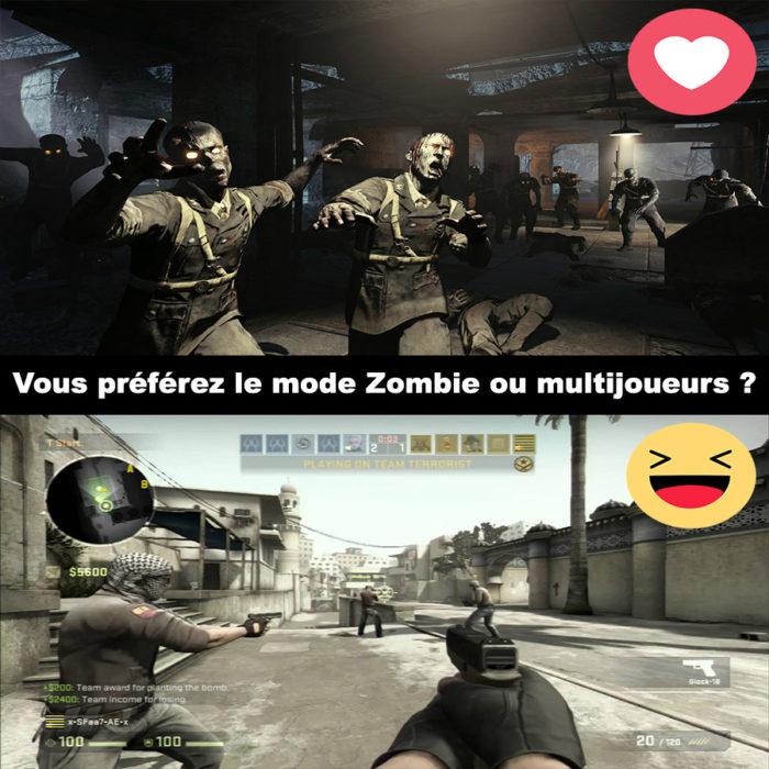 Vous préférez le mode Zombie ou multijoueurs ?