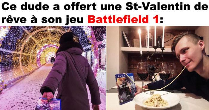 Il passe la St-Valentin avec son Jeu Battlefield 1