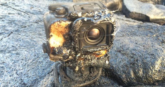 Une GoPro s'est faite ensevelir par de la lave et elle a tout filmé