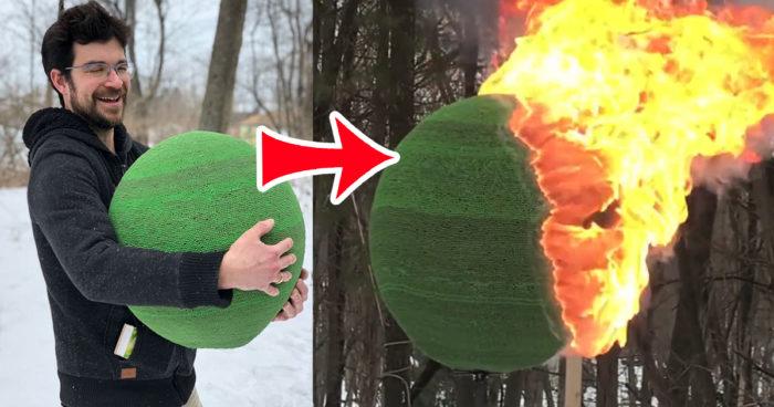 Il a passé presque un an à créer une boule géante avec 42 000 allumettes [VIDÉO]