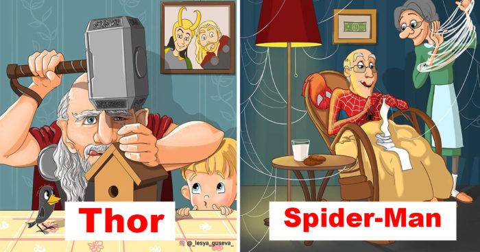 Cette artiste a imaginé plusieurs personnages populaires quand ils seront vieux
