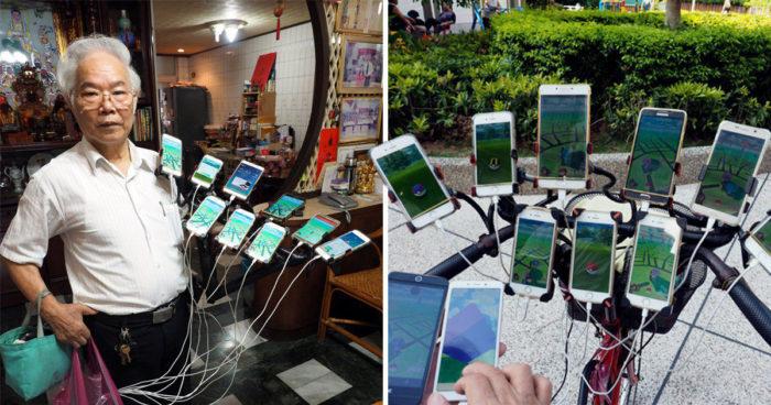 Un grand-père de 70 ans joue à Pokémon Go avec 11 téléphones sur son vélo