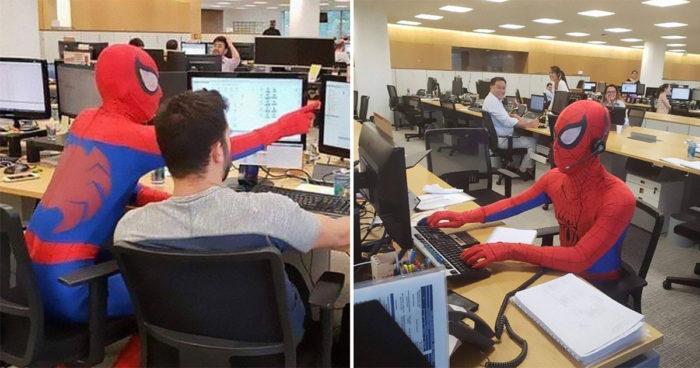 Après avoir démissionné, il passe sa dernière journée de travail déguisé en Spider-Man