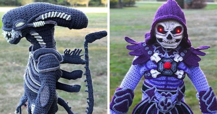 Chaque année, cette maman tricote des costumes d'Halloween à ses enfants