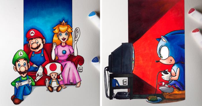 Cette artiste a imaginé des personnages de jeux vidéo en train de gamer