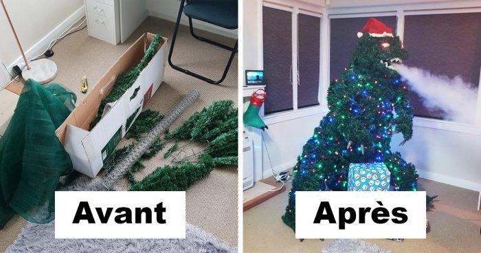 Il vous montre en étape comment il a fait un arbre de Noël Godzilla qui crache de la fumée