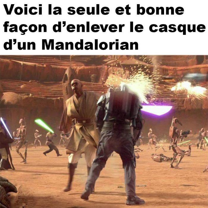 Enlever le casque d'un Mandalorian