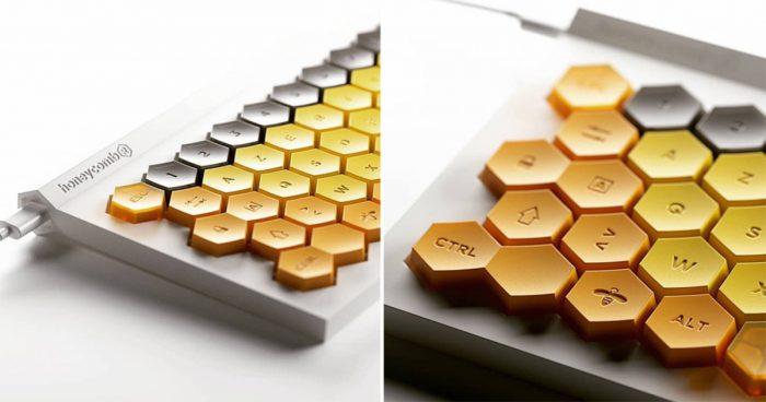 Un clavier d'ordinateur dont le design s'inspire d'un nid d'abeilles