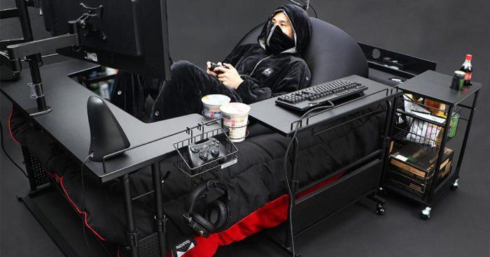 Pourquoi avoir une chaise de gaming quand tu peux avoir un lit pour gamer?
