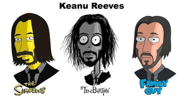 Cet artiste illustre des personnes célèbres avec le style de plusieurs dessins animés