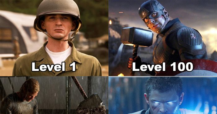 Les super-héros de Marvel level 1 vs level 100