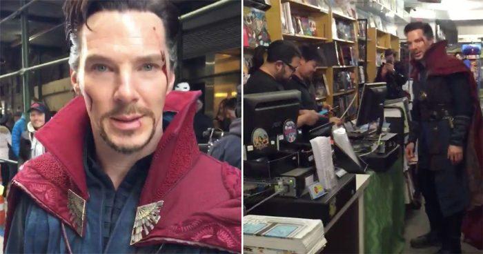 Benedict Cumberbatch s'est rendu dans un magasin de comic books habillé en Doctor Strange