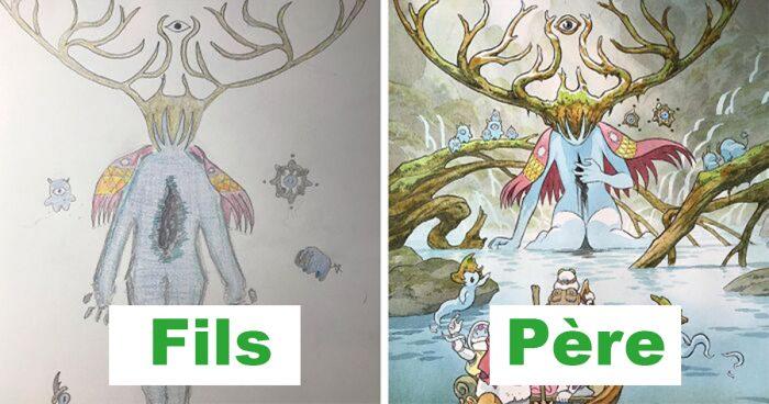 Ce papa réinvente les dessins de son fils en version anime japonais  12 nouvelles images 