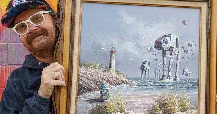 Il achète de vieux tableaux pour ensuite y peindre des éléments de Star Wars