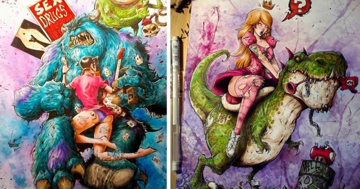 Cet artiste a transformé 35 personnages de la pop culture en version beaucoup plus trash