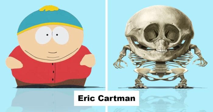 Un artiste dévoile le véritable squelette de 11 personnages de dessins animés populaires